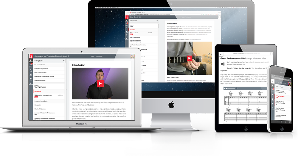 Berklee Online's custom course environment displayed in various devices, representing access to instruction no matter the device, or location.