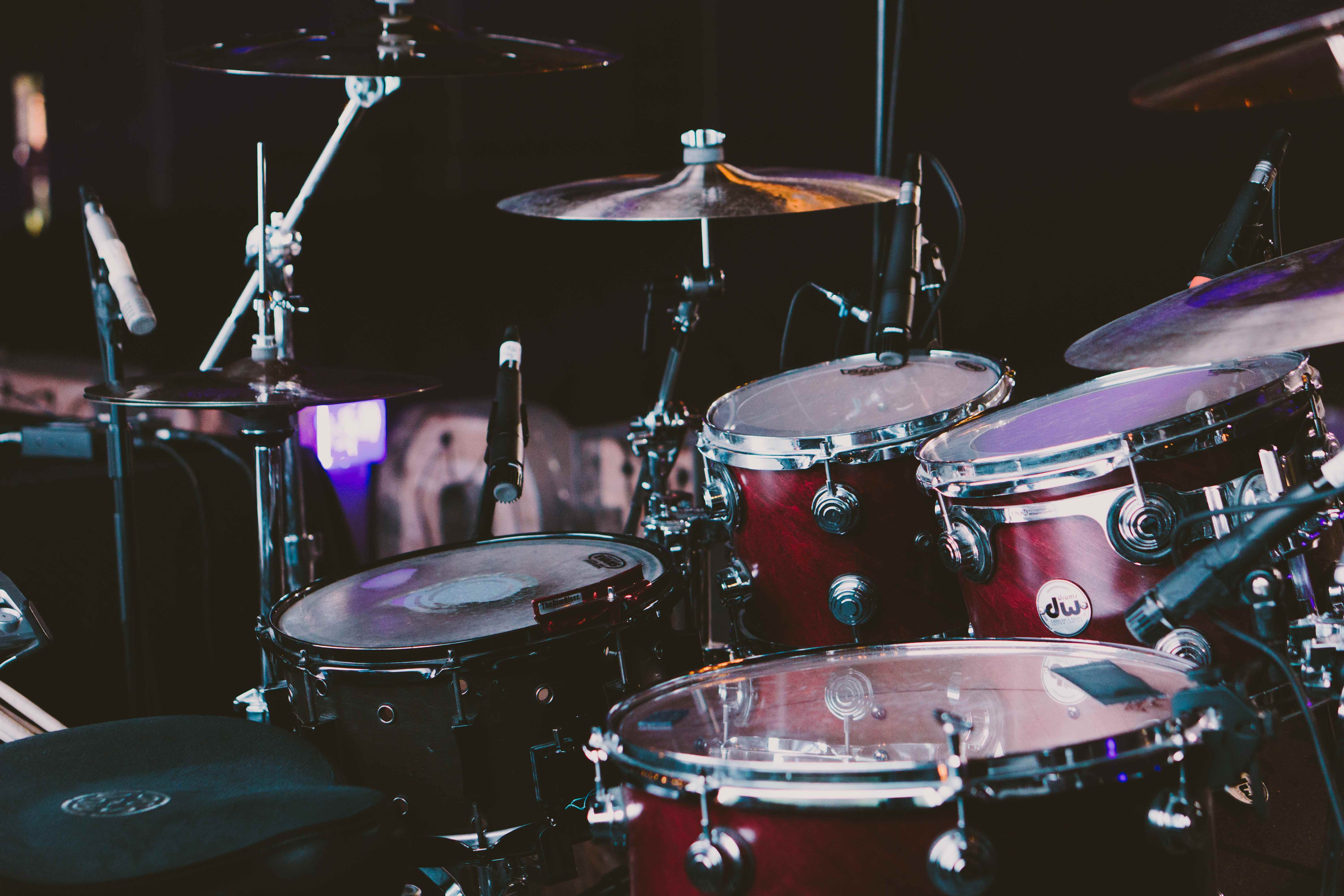 A red drum kit.