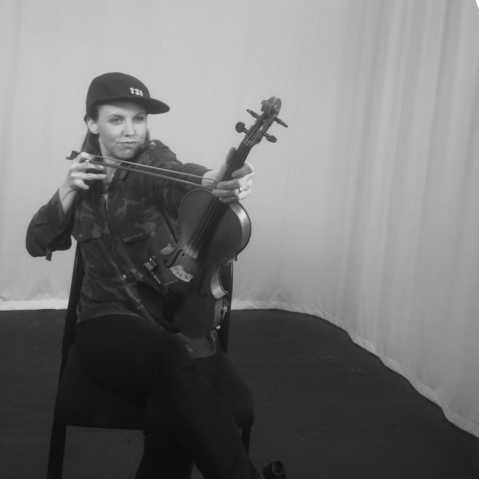 Sarah Neufeld with her violin.