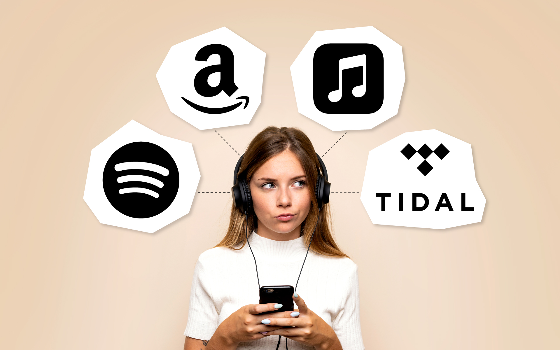 A woman surrounded by four thought bubbles that feature the Spotify, Amazon Music, Apple Music, and TIDAL logos.