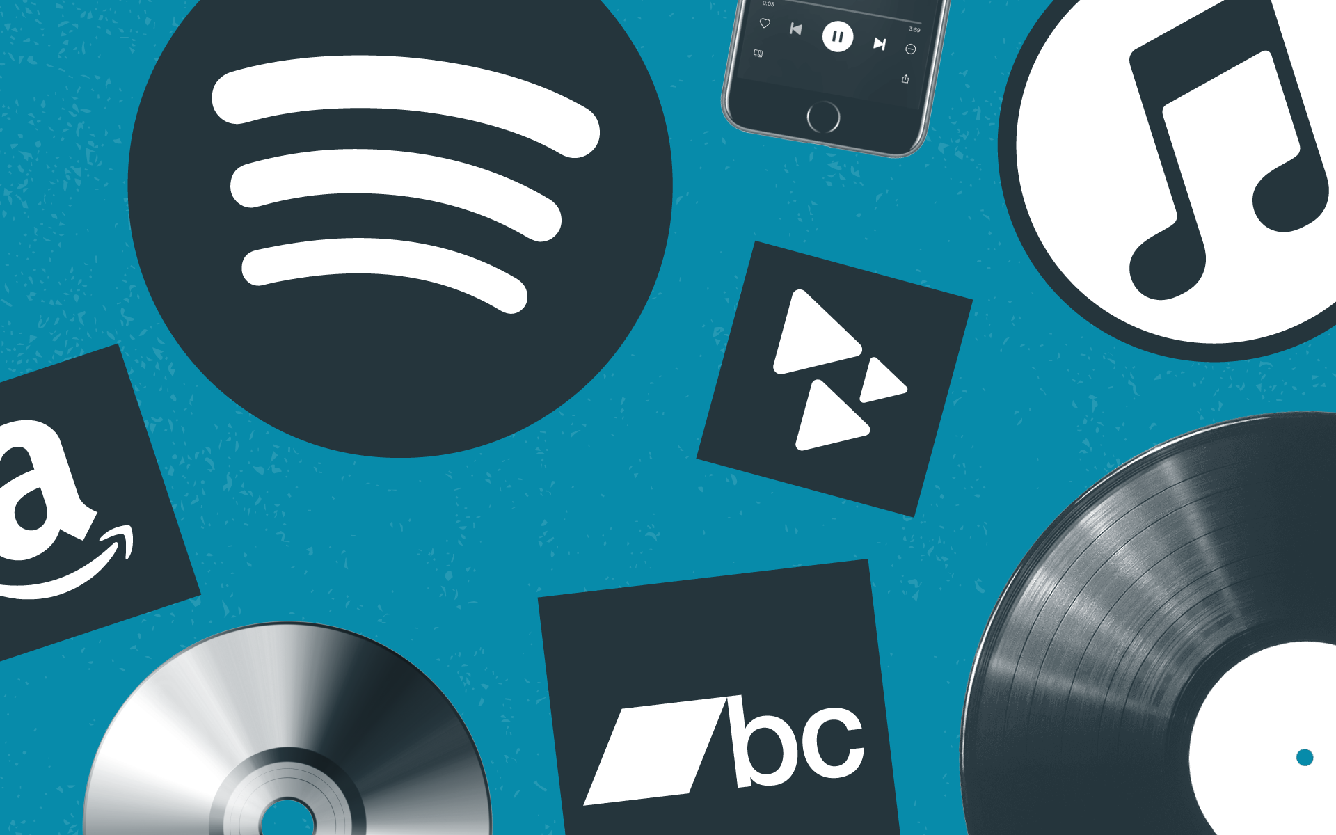 Music distribution platforms such as Spotify, Bandcamp, Amazon, and more.