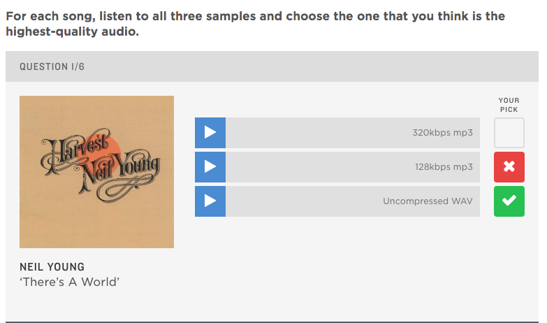 The NPR music quiz to see how well listeners can hear high fidelity music streaming.