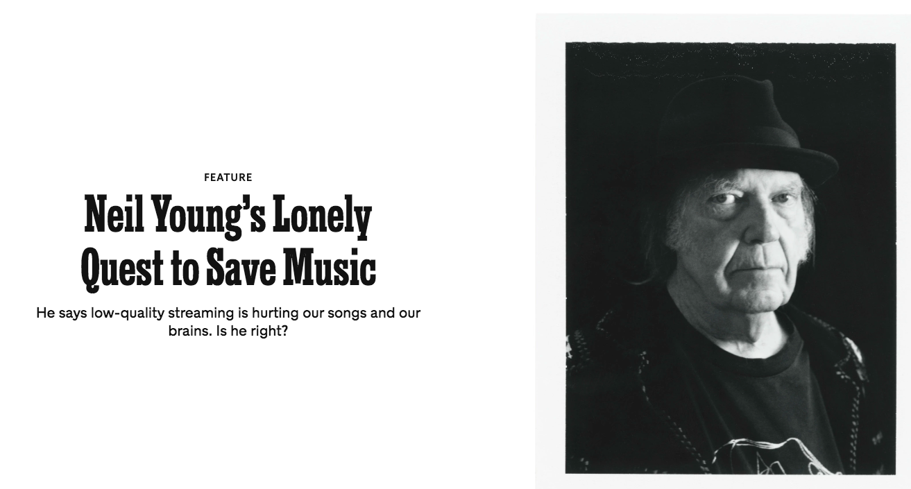 """A screen grab of the New York Times Magazine article """"Neil Young's Lonely Quest to Save Music."""" The article features a headshot photo of Young."""