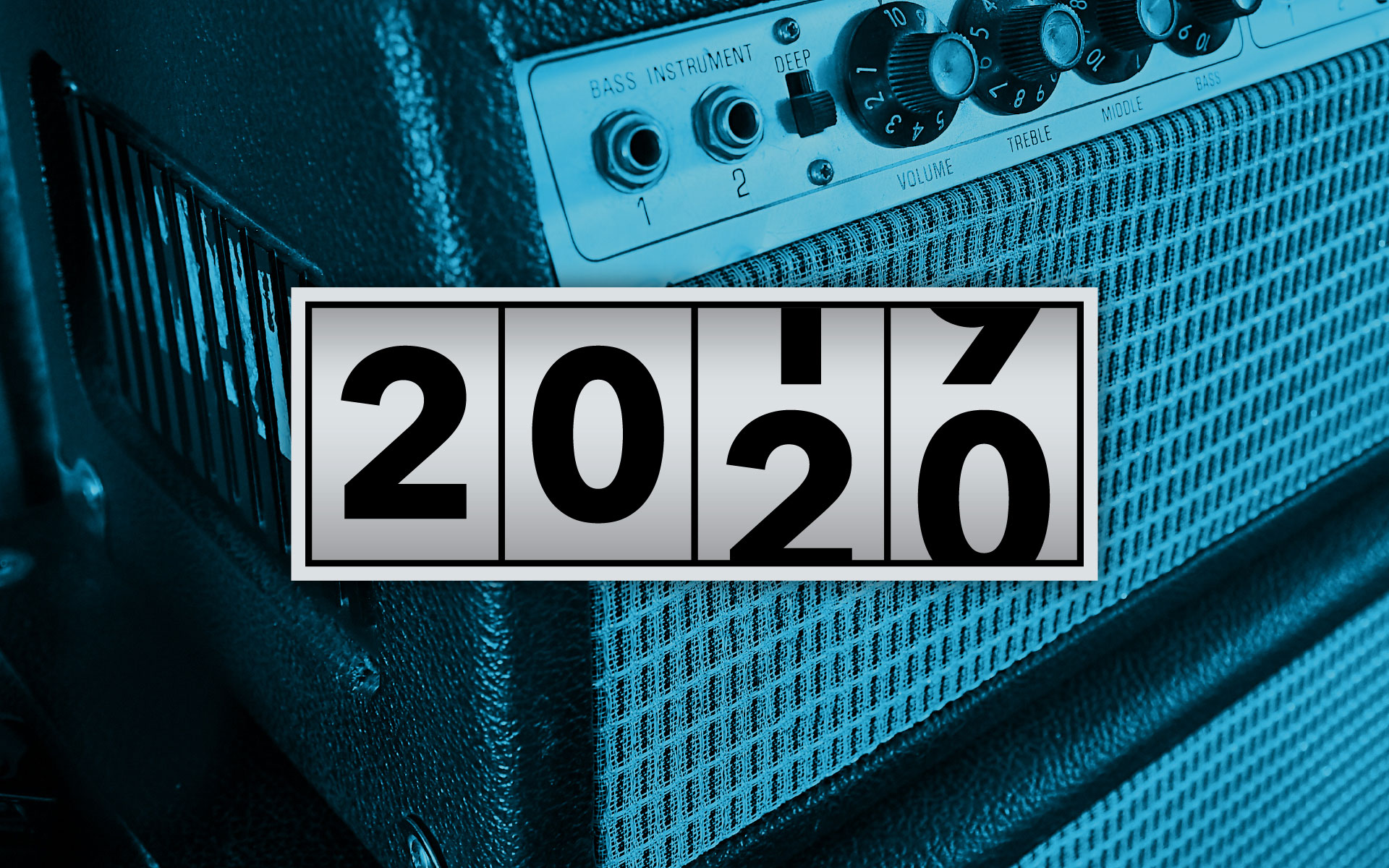A dial rolling over from 2019 to 2020 with an amp in the background.