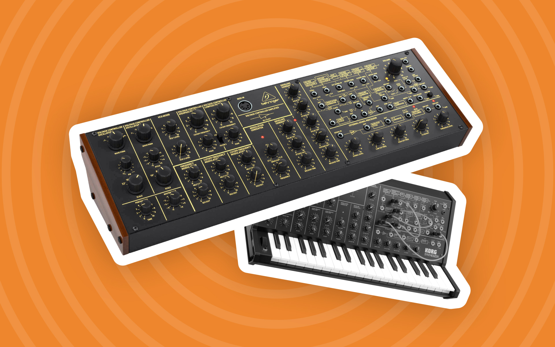 A Behringer K-2 Synth next to the Korg MS-20.