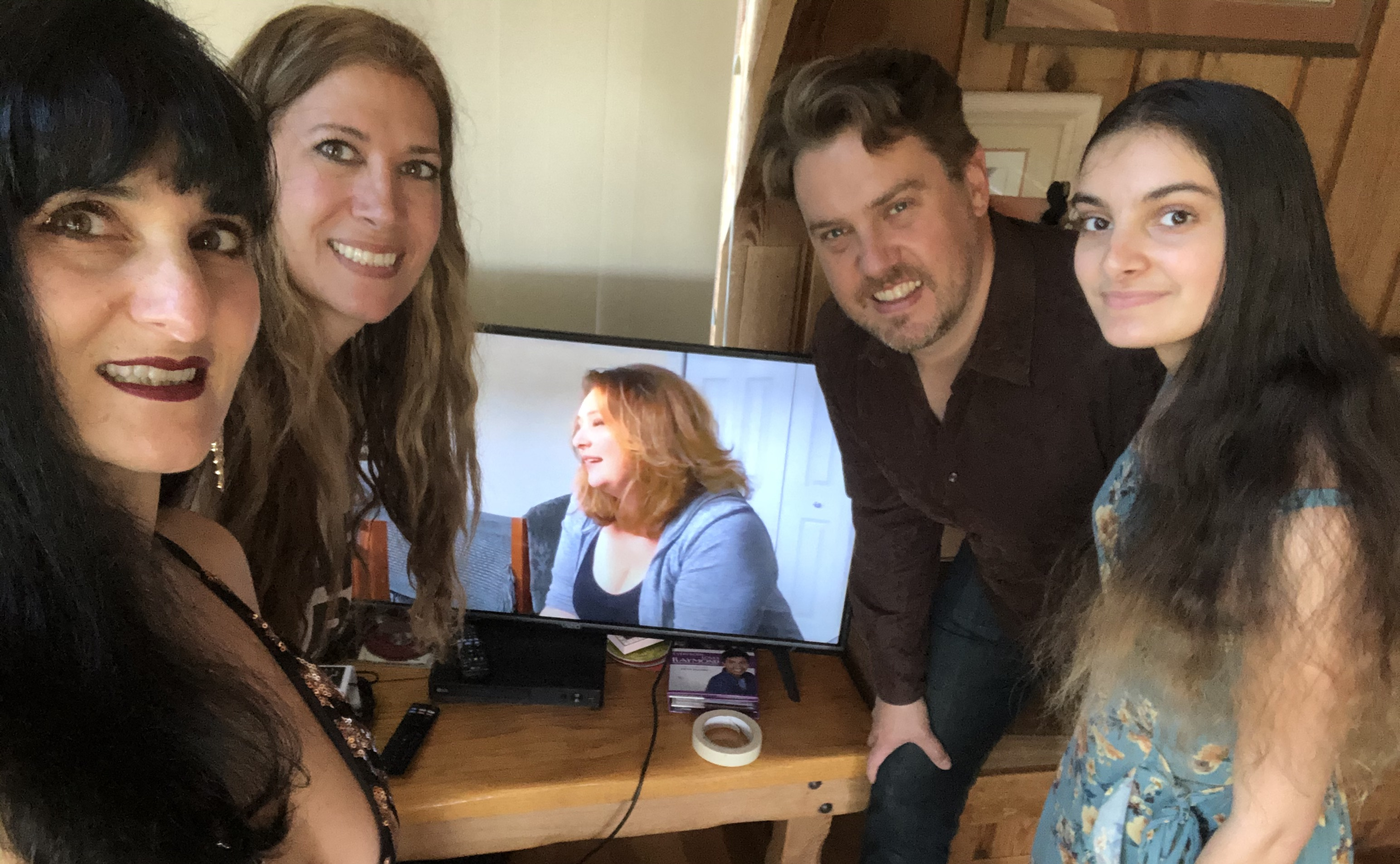 Karen Naifeh Harmon celebrated her Berklee Commencement from her mom's ranch near Tulsa, Oklahoma. From left to right: Harmon, her sister Jamie, her husband Nathan, and daughter Lexy.