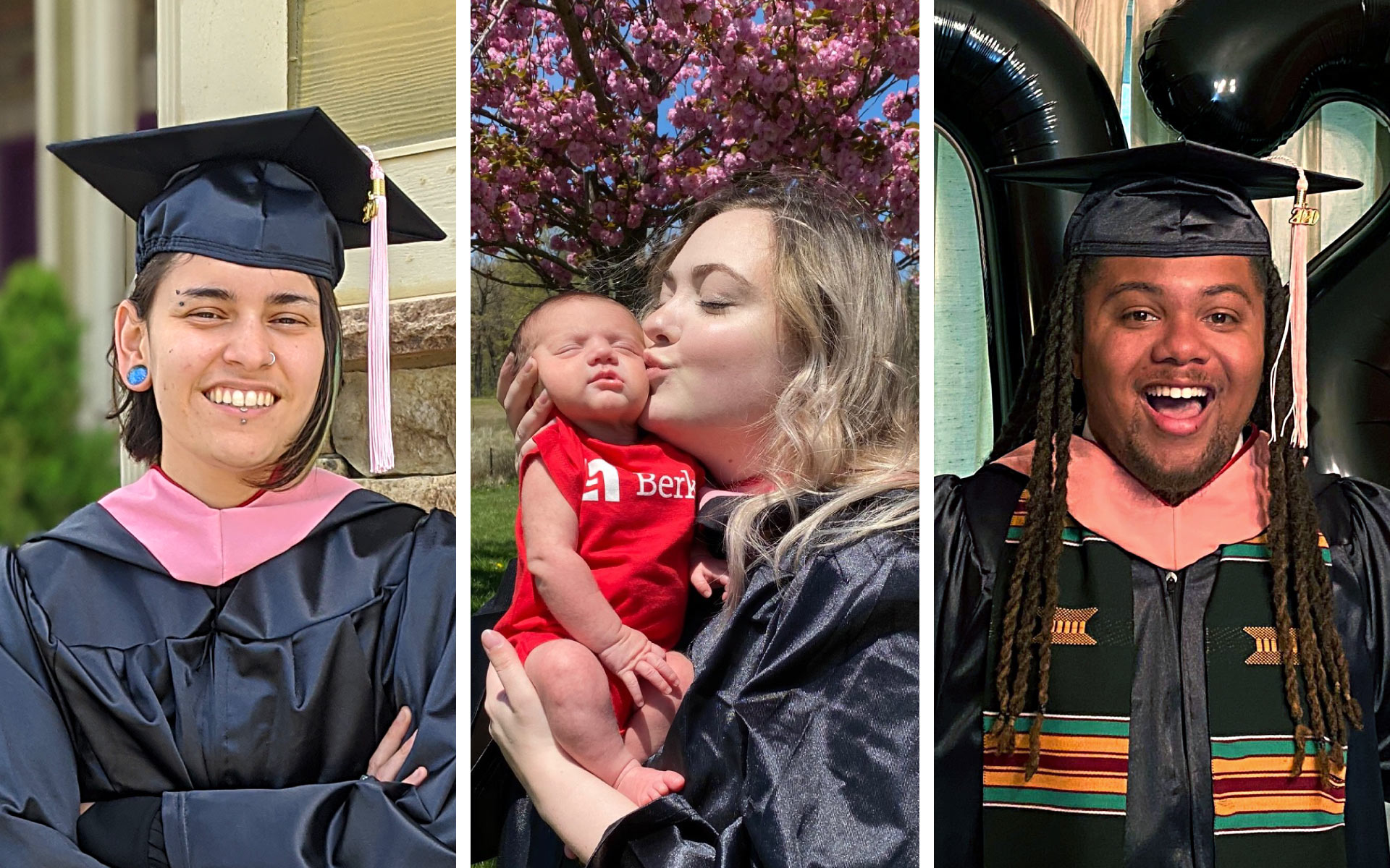 Berklee Online 2020 graduates Allegra Hernandez, Carrie Lane Pearlman, and Ryan Harris.