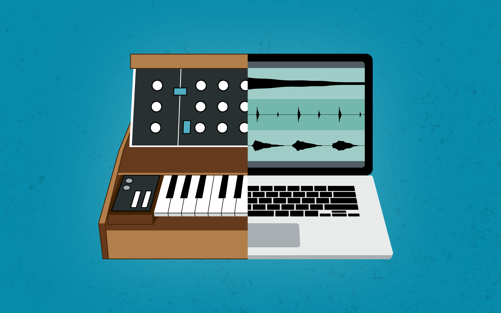 An illustrationof a vintage synth next to a laptop displaying a DAW program.