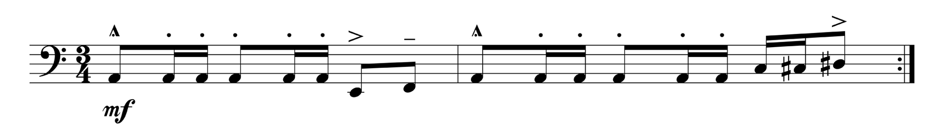 Music arrangement illustrating a linear melodic shape.