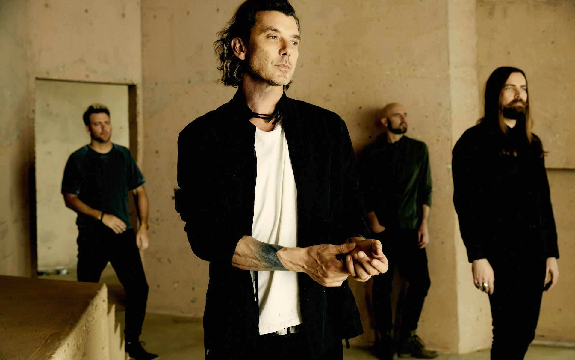 Gavin Rossdale is pictured with other members of the band Bush.