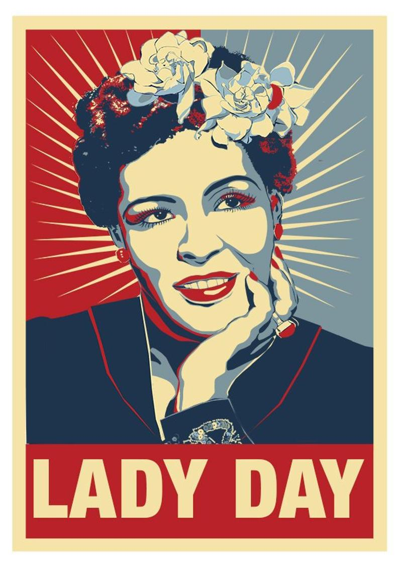 Billie Holiday poster in the style of Shepard Fairey.