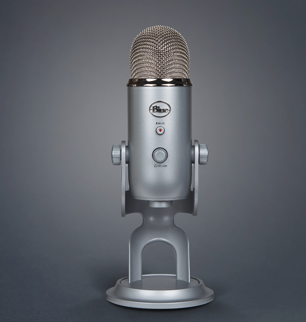 Blue Yeti USB microphone.
