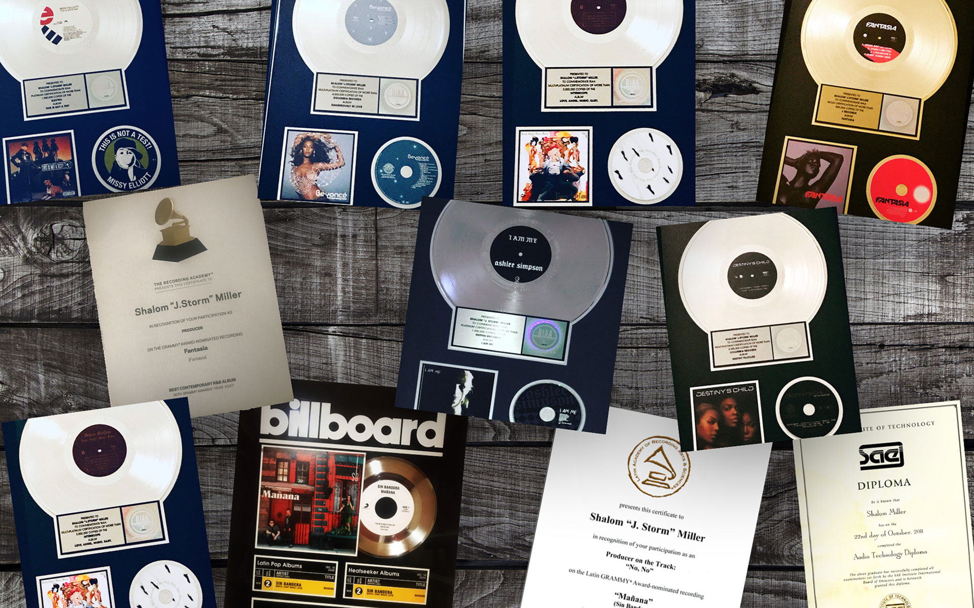 Shalom's awards including gold, platinum, and multi-platinum records, Grammy awards, a diploma from the SAE institute, and more.
