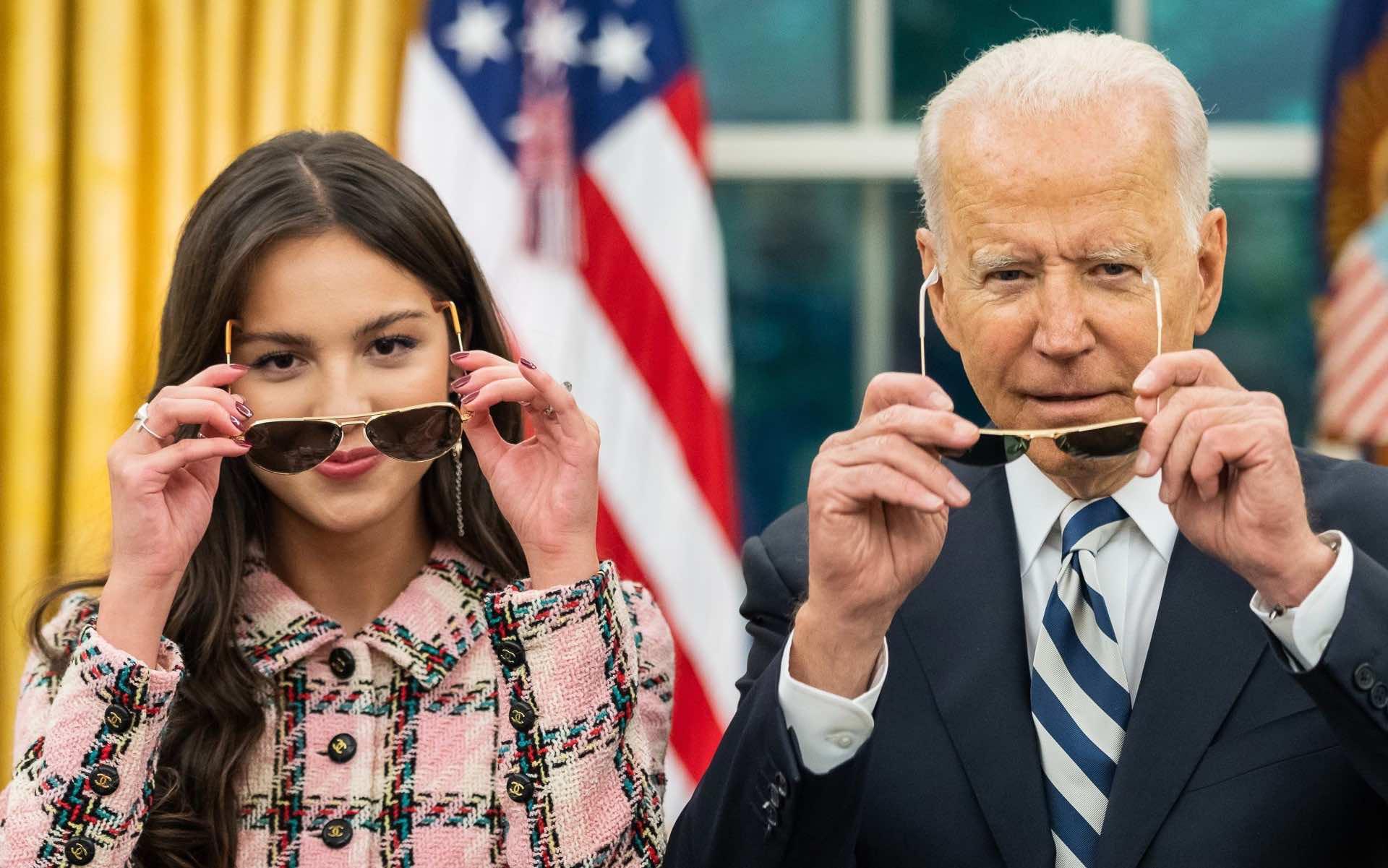 Olivia Rodrigo and Joe Biden putting on sunglasses at the White House.