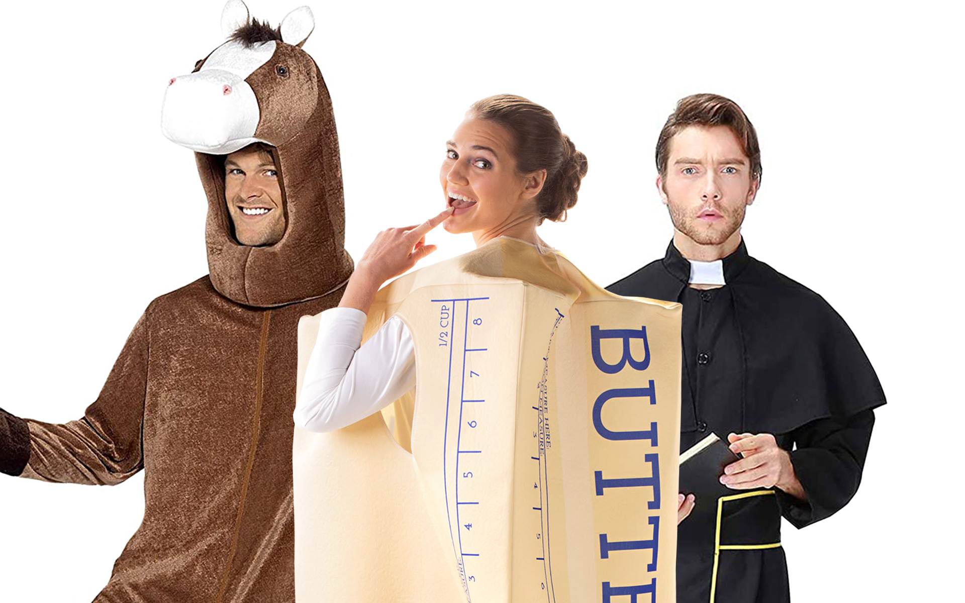 Halloween costume ideas: a horse, stick of butter, and a priest